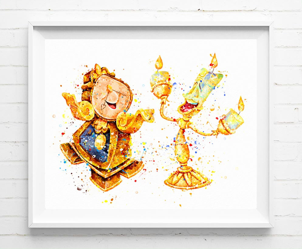 Disney Beauty and the Beast Poster Lumiere and Cogsworth Art Print ...