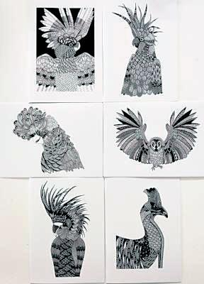 Birds of Australia - set of 6 blank greeting cards
