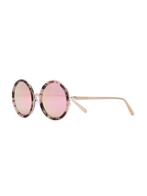 Linda Farrow Salmon T Shell Round Sunglasses