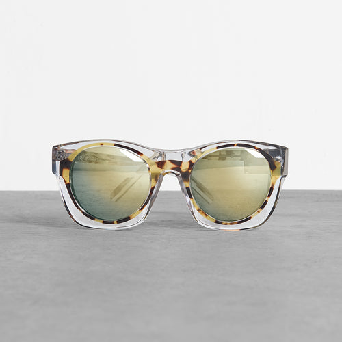 Linda Farrow Classis T Shell and Nickel Sunglasses