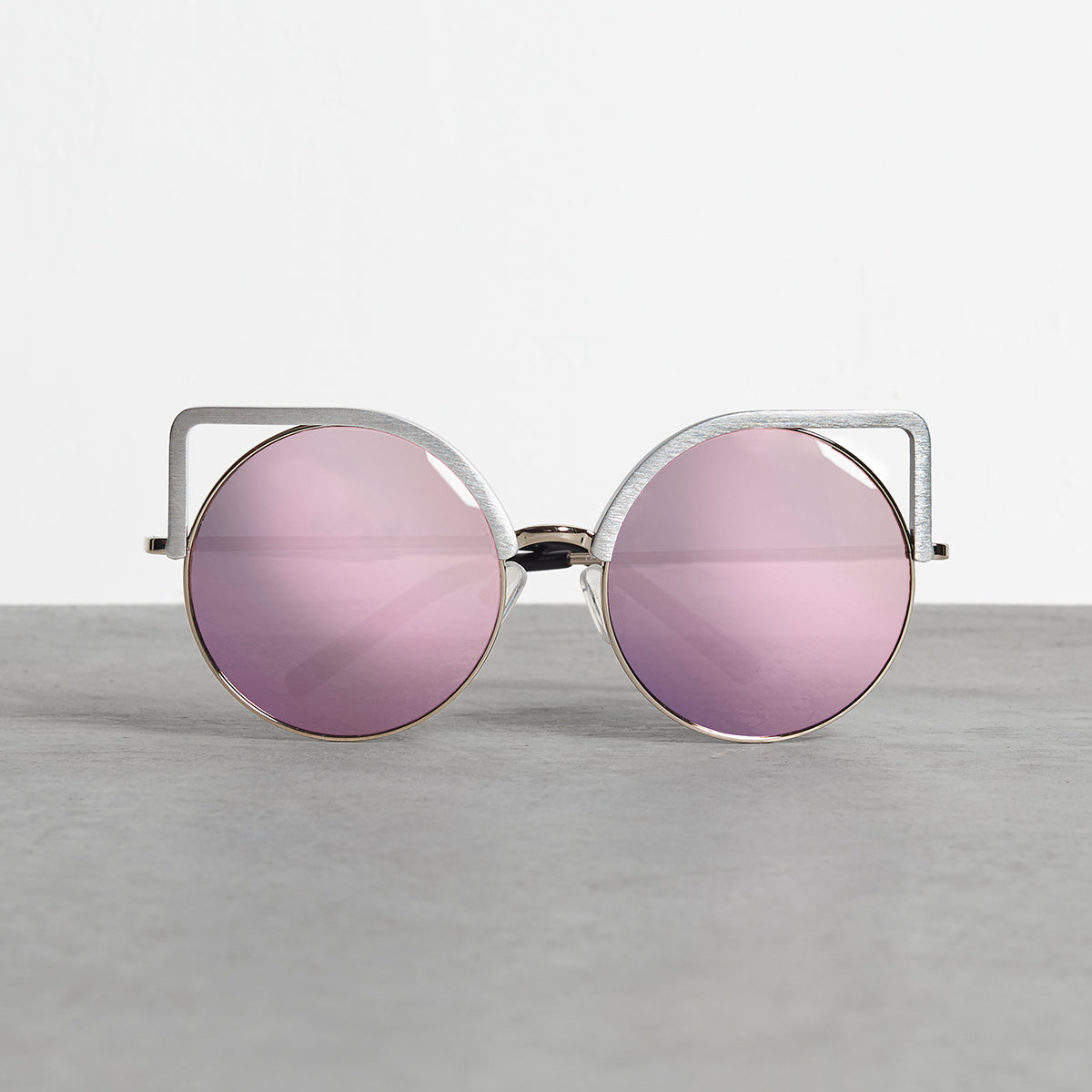 Linda Farrow Grey Alu Round Sunglasses