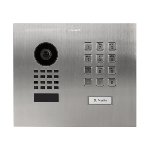 DoorBird IP Intercom Video Door Station D1101KH, Flush/Surface Mount Stainless Steel Metallic Finish with Keypad