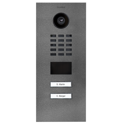 DoorBird Multi-Dwelling IP Intercom Video Door Station D2102V - Flush Mount - 2 Call Buttons - Metal Finish