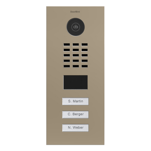 DoorBird Multi-Dwelling IP Intercom Video Door Station D2103V - Flush Mount - 3 Call Buttons - Semi-Gloss