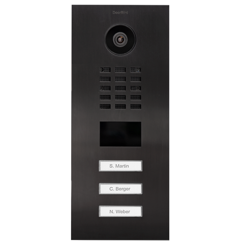 DoorBird Multi-Dwelling IP Intercom Video Door Station D2103V - Flush Mount - 3 Call Buttons - Metal Finish