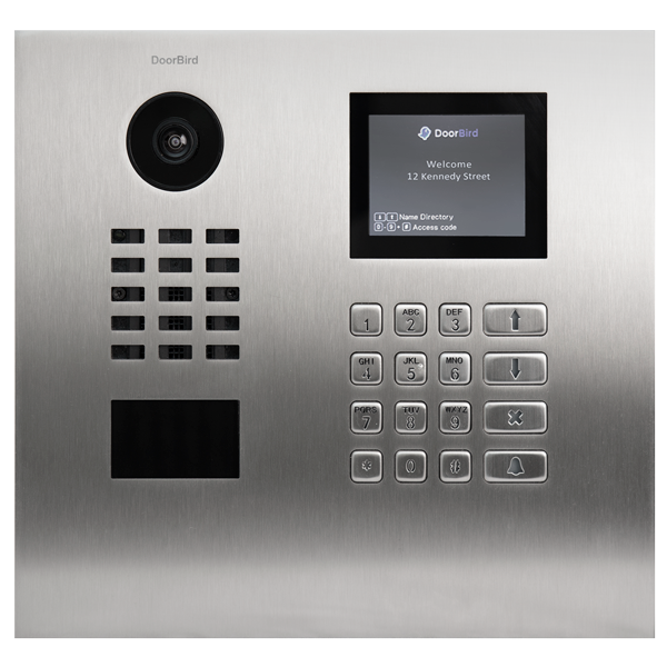 DoorBird IP Intercom Video Door Station D21DKH, Brushed Stainless Steel Edition Flush, Display Module, Keypad Module, RFID
