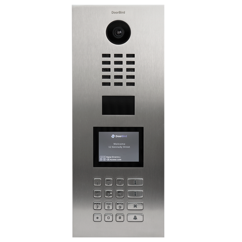 DoorBird IP Intercom Video Door Station D21DKV, Brushed Stainless Steel Edition Flush, Display Module, Keypad Module, RFID