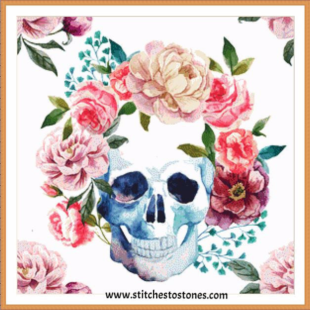 Boho Skull With Flowers Full Coverage 5d Diamond Painting