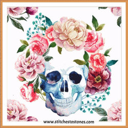 Boho Skull with Flowers Full Coverage 5D Diamond Painting Kit