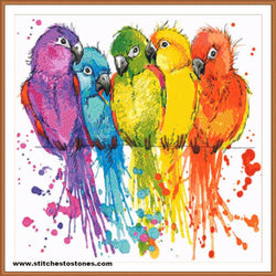 Colourful Parrots Full Coverage 5D Diamond Painting Kit