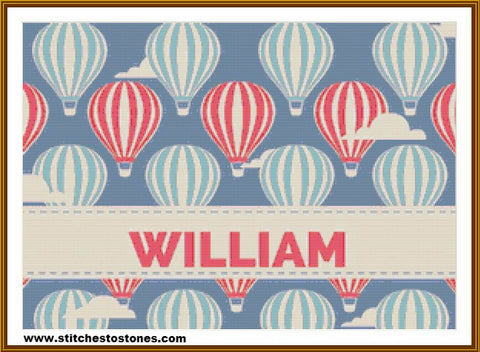 Custom Name - Boy Hot Air Ballon 5D Full Coverage Diamond Painting Kit