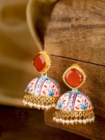 Rust Orange & Pink Gold-Plated Stone Studded Hand Painted Dome Shaped Jhumkas