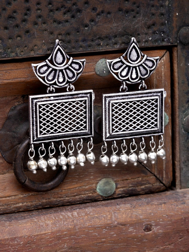 Oxidised Silver-Toned Brass-Plated Geometric Drop Earrings