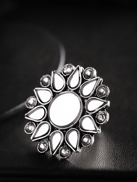 Women Oxidised Silver-Toned Mirror Work Stone-Studded Adjustable Finger Ring
