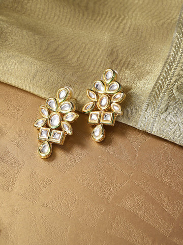 Gold-Toned Brass Plated Kundan Studded Handcrafted Classic Drop Earrings