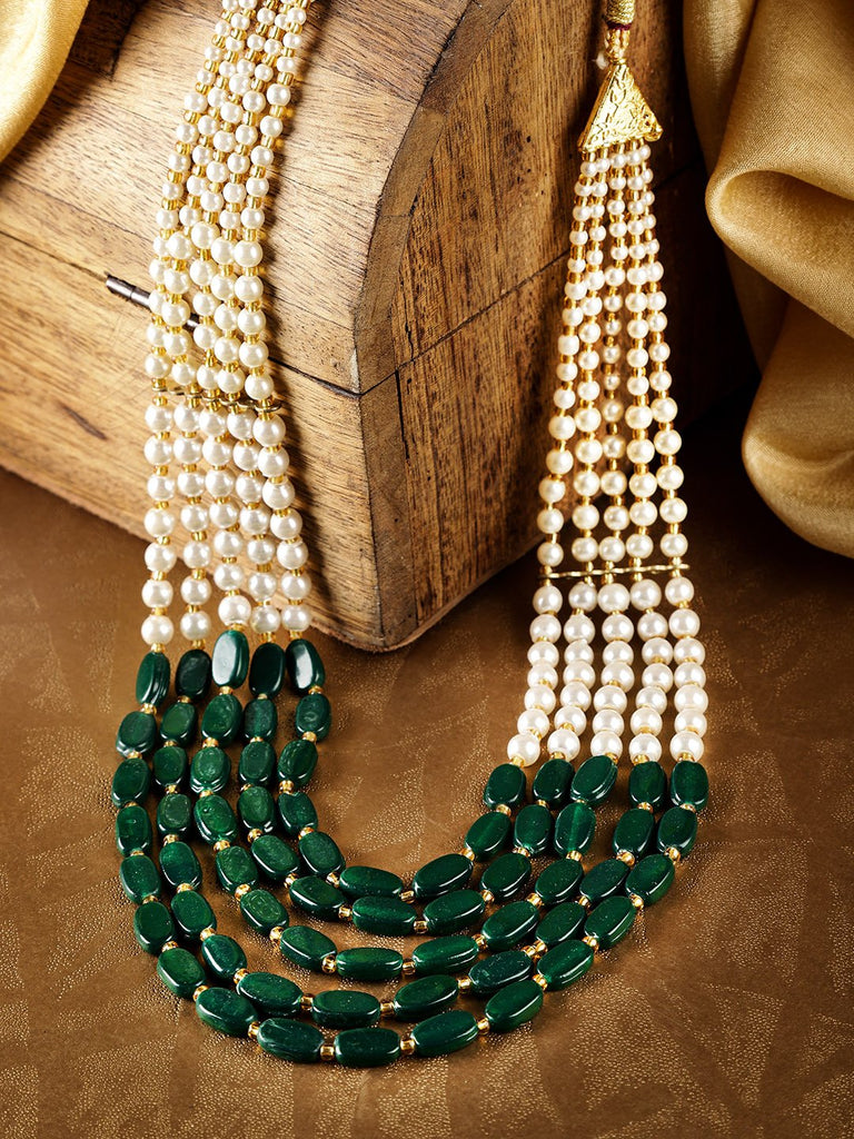 Green & Off-White Gold-Plated Beaded Layered Necklace