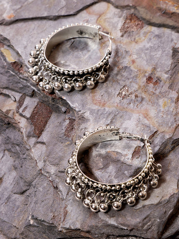 Infuzze Oxidised Silver Toned Beaded Circular Hoop Earrings   - W031