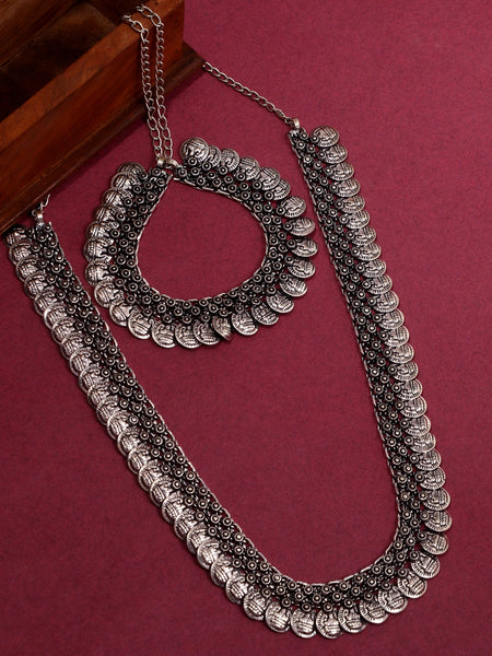Infuzze Silver-Plated Oxidised Brass Jewellery Set