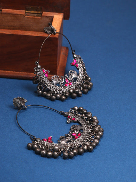 Infuzze Silver-Plated Oxidised Stoned Alloy Chandbalis - Z0098