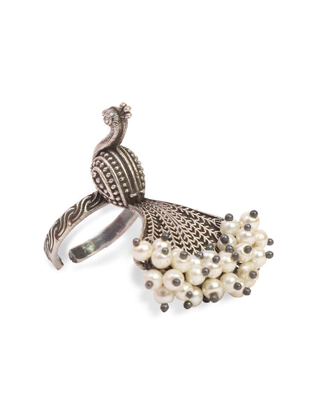 Infuzze Peacock Shaped  Silver-Plated Oxidised Beaded Brass Ring - Z0070