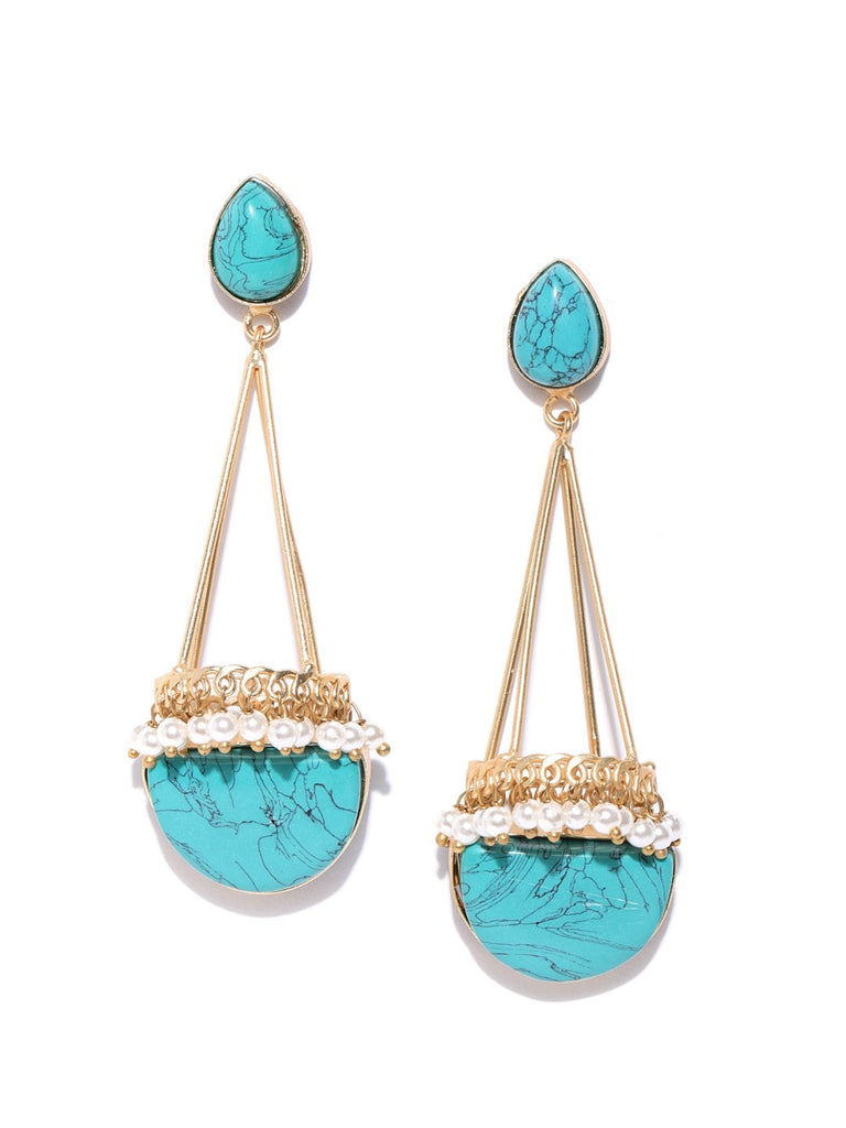 Turquoise Blue Gold-Plated Stone-Studded Geometric Handcrafted Drop Earrings