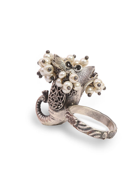 Infuzze Peacock Shaped Silver-Plated Oxidised Brass Ring - Z0071