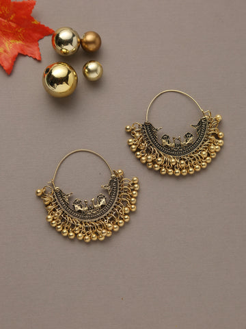 Infuzze Gold-Toned Crescent-Shaped Chandbalis Alloy Chandbali Earring - E056