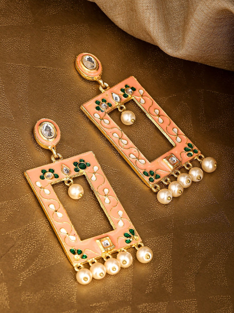 Peach-Coloured & Off-White Gold-Plated Beaded Meenakari Geometric Drop Earrings