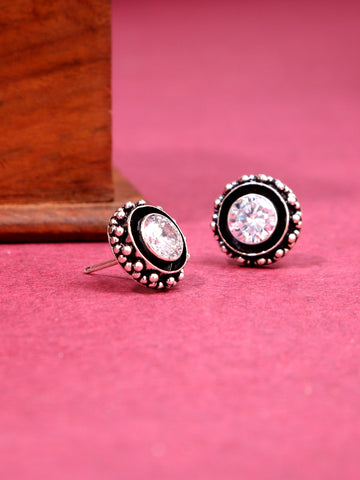 Infuzze Silver-Plated Oxidised White Stoned Brass Studs - Z0063