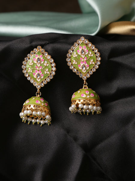 Infuzze Green Meenakari Earrings
