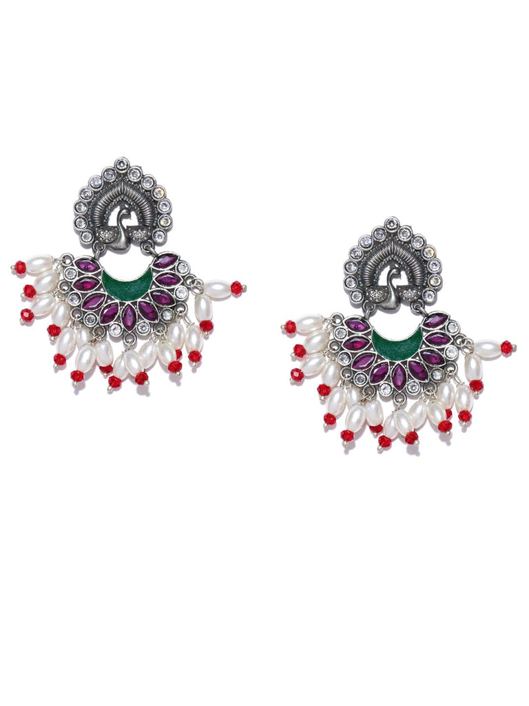 Purple Silver-Plated Stoned Studded Beaded Oxidised Peacock Shaped Drop Earrings