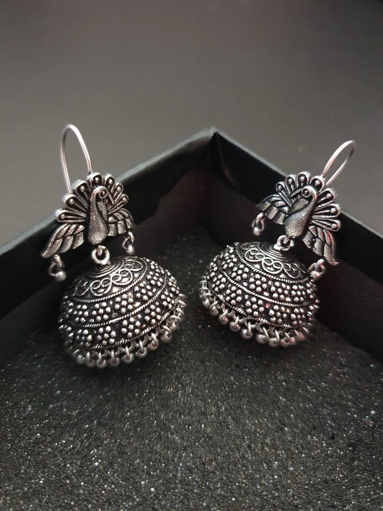 Infuzze Oxidised Silver-Toned Dome Shaped Jhumkas - M092