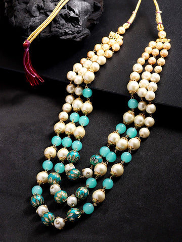 Turquoise Blue & Off-White Brass-Plated Beaded Layered Necklace