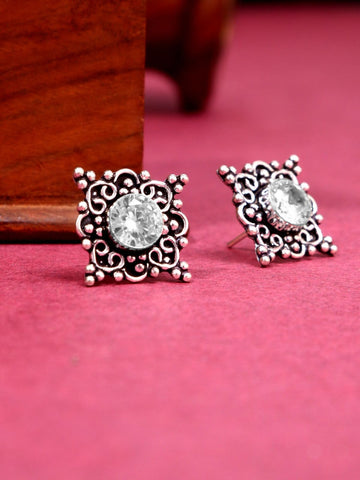 Infuzze Silver-Plated Oxidised Stoned Brass Studs - Z0066
