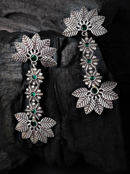 Green & Silver-Plated Handcrafted Floral Drop Stone Studded Earrings