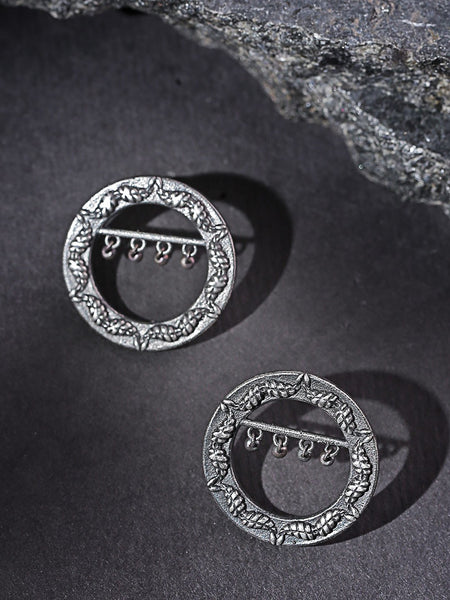 Oxidised Silver-Plated Circular Oversized Studs