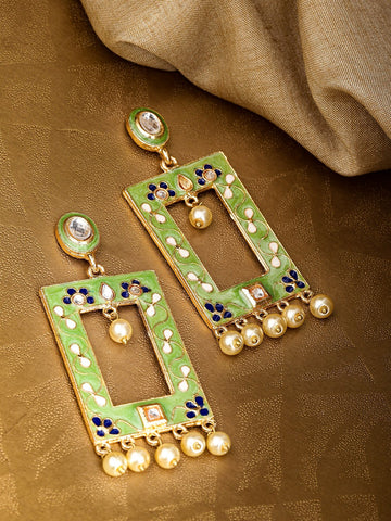 Green & Off-White Gold-Plated Beaded Meenakari Geometric Drop Earrings