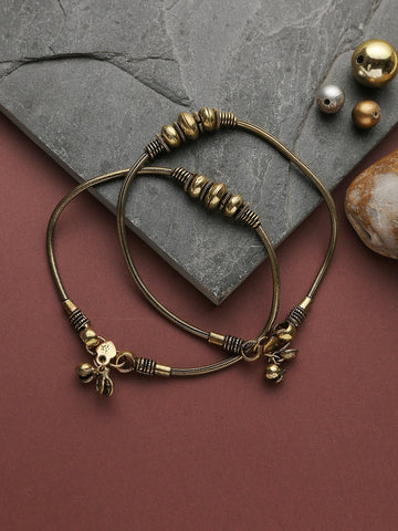 Infuzze Golden Oxidized Anklet