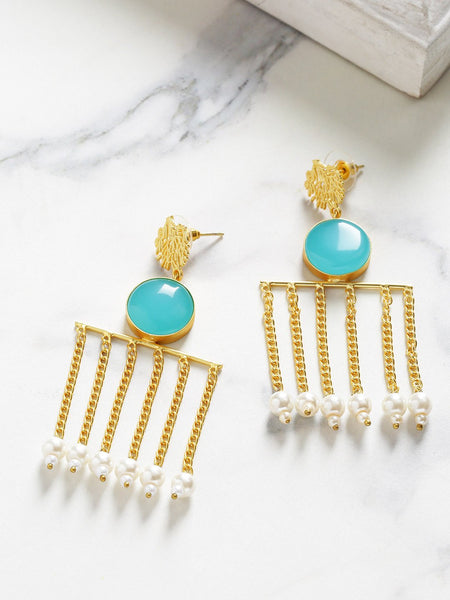 Blue Gold-Plated Handcrafted Stone Studded Beaded Contemporary Drop Earrings