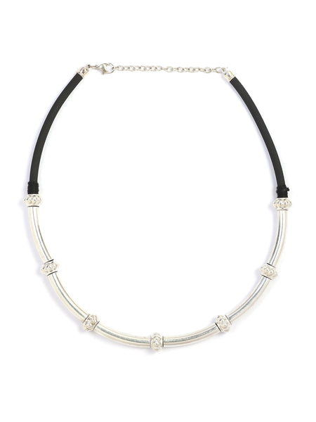 Infuzze Black & Silver Oxidised Choker Brass Necklace - Z0050