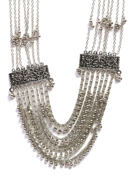 Infuzze Silver-Plated  Layered Alloy  Necklace - Z0086