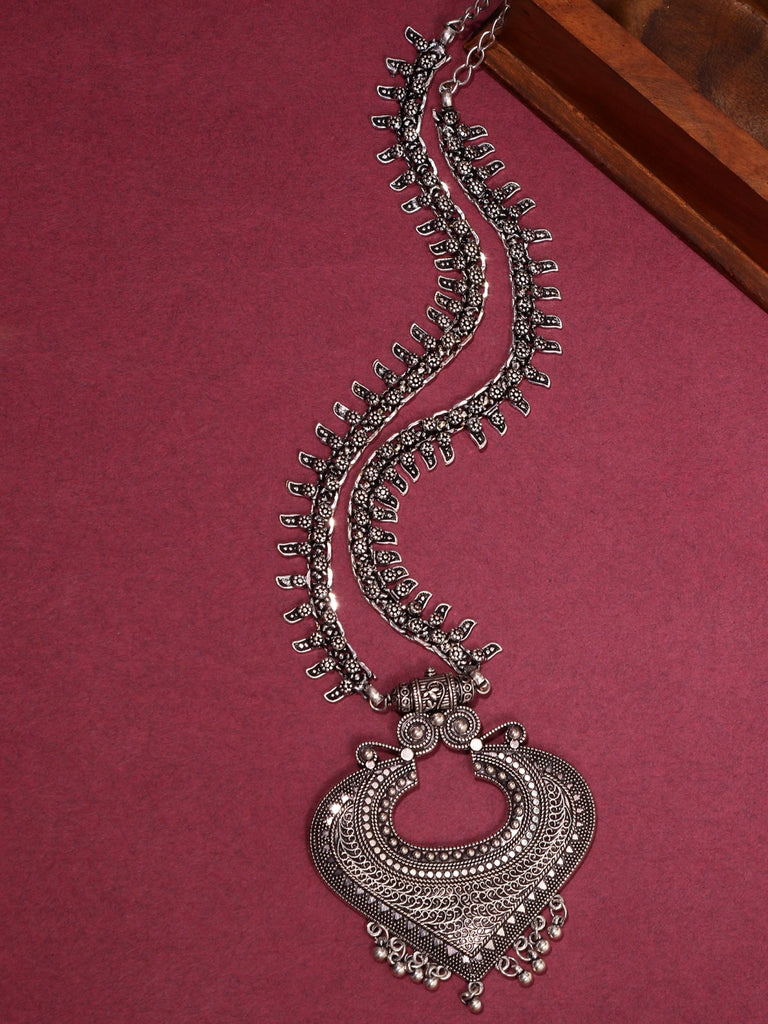 Infuzze Silver-Plated Oxidised Pendant Brass Necklace - Z0089