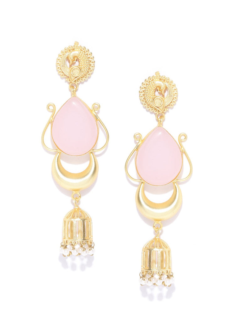 Light Pink Gold-Plated Stone-Studded Teardrop Shaped Handcrafted Drop Earrings