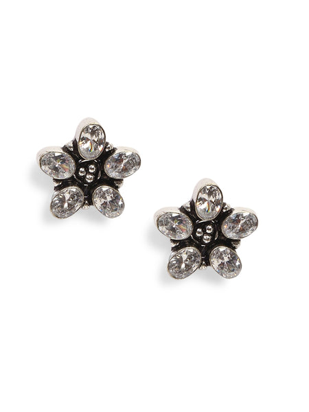 Infuzze Silver-Plated Oxidised Stoned Brass Studs - Z0067