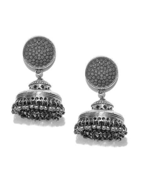 Gunmetal-Toned Oxidised Silver-Plated Textured Dome Shaped Jhumkas