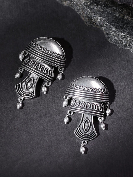 Oxidised Silver-Plated Textured  Classic Drop Earrings