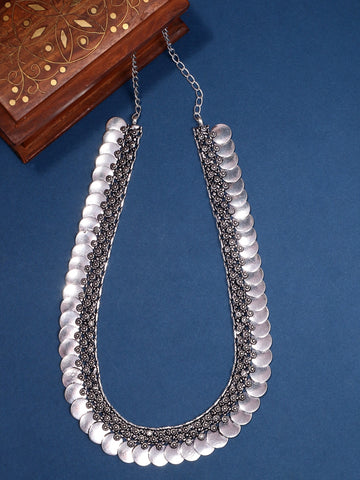 Infuzze Silver-Plated Oxidised Long Brass Necklace - Z0092