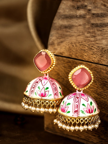 Pink & White Gold-Plated Stone Studded Hand Painted Dome Shaped Jhumkas