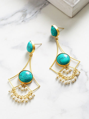 Turquoise Blue Gold-Plated Handcrafted Stone Studded Beaded Drop Earrings