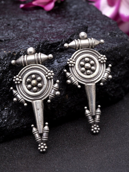 Oxidised Silver-Toned Brass-Plated Classic Drop Earrings